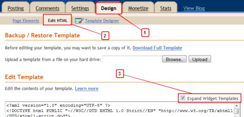 Edit blogger design