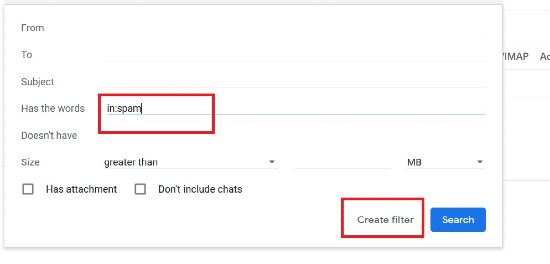 Create Filter popup box in Gmail