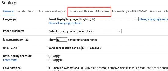 Filters and Blocked Addresses tab in Gmail