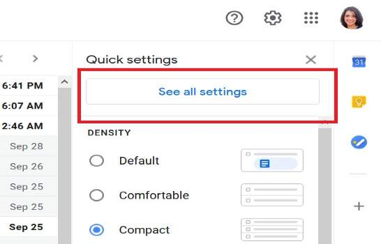 Gmail See All Settings button